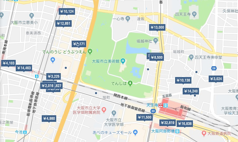 天王寺ホテル分布図