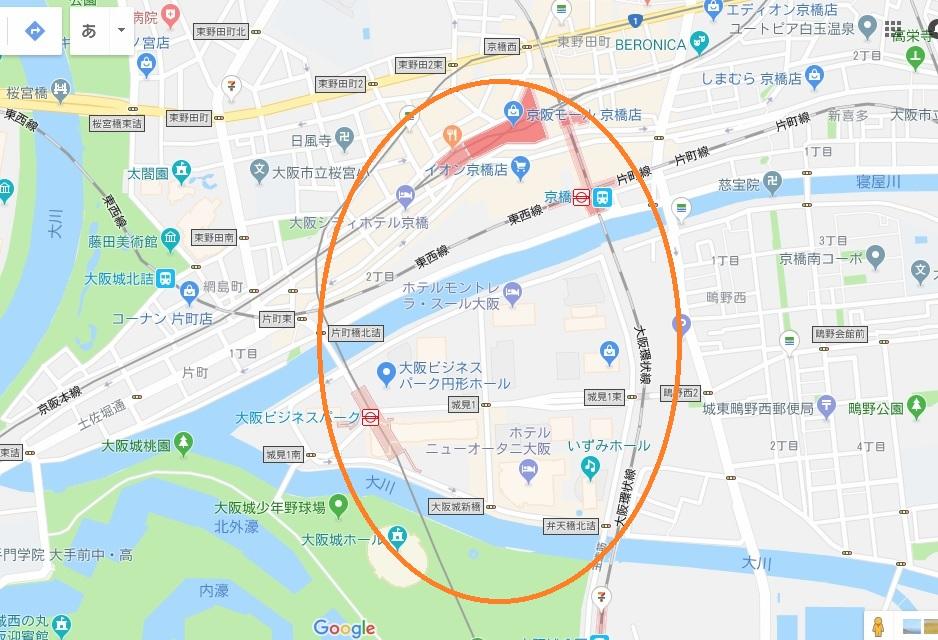 京橋・大阪ビジネスパークエリア地図